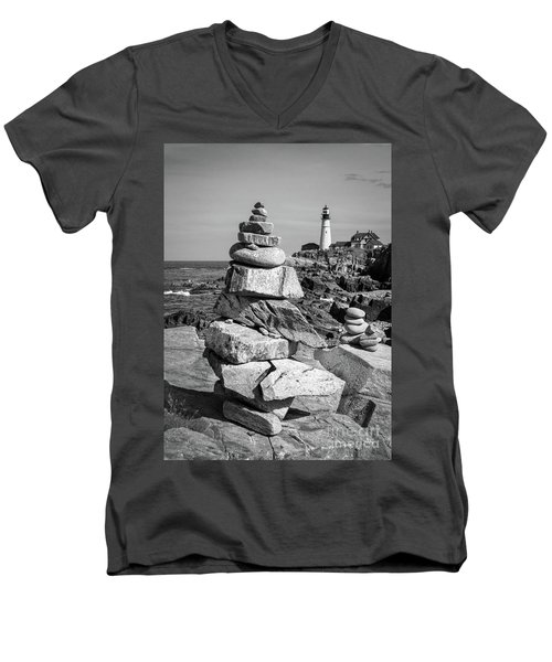 Cairn And Lighthouse  -56052-bw Men's V-Neck T-Shirt by John Bald
