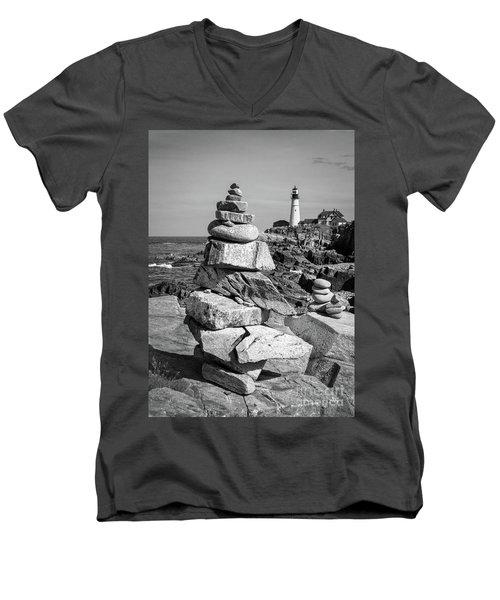 Cairn And Lighthouse  -56052-bw Men's V-Neck T-Shirt