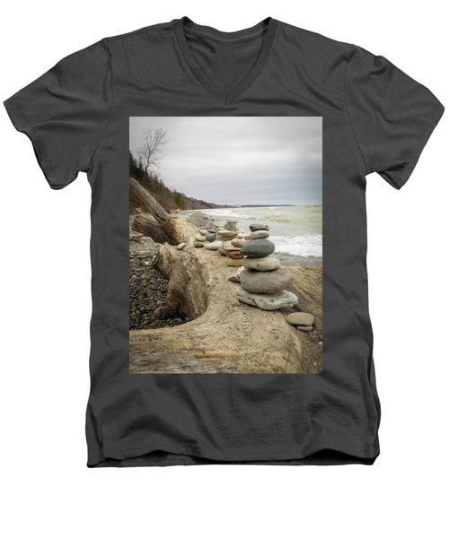 Men's V-Neck T-Shirt featuring the photograph Cairn On The Beach by Kimberly Mackowski