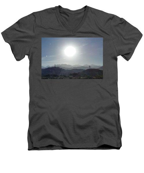 Cajon Pass Sunset Men's V-Neck T-Shirt by Karen J Shine