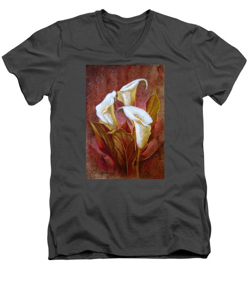 Cala Lillies Bouquet Men's V-Neck T-Shirt by J- J- Espinoza