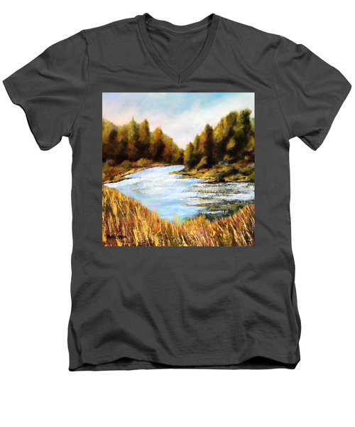 Men's V-Neck T-Shirt featuring the painting Calapooia River by Marti Green