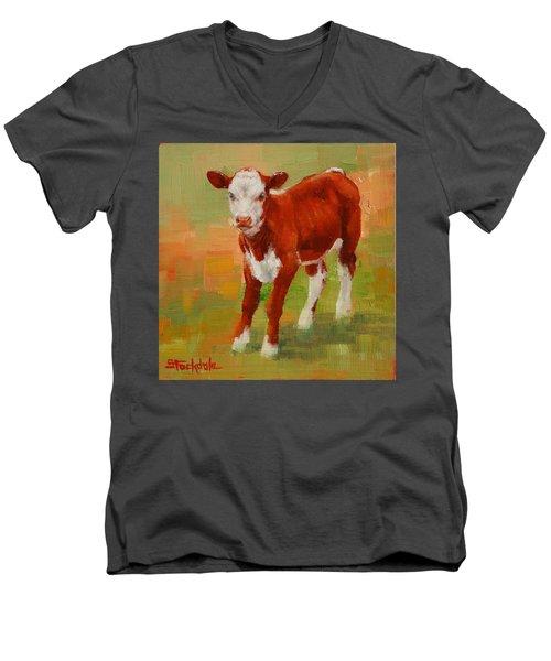 Calf Miniature Men's V-Neck T-Shirt by Margaret Stockdale