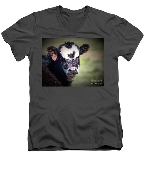 Calf Number 444 Men's V-Neck T-Shirt by Laurinda Bowling