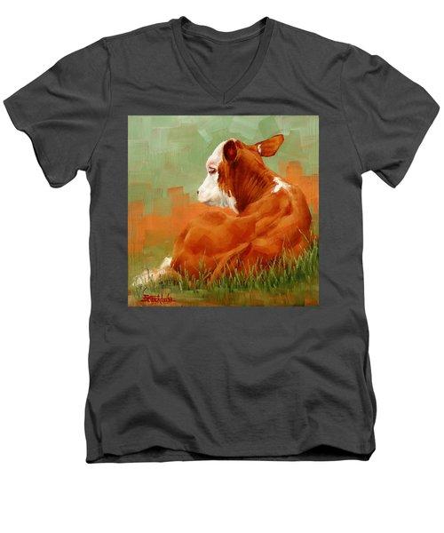 Calf Reclining Men's V-Neck T-Shirt by Margaret Stockdale