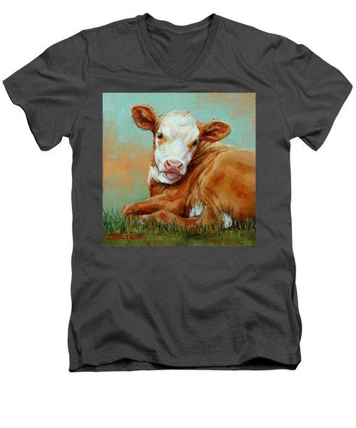 Calf Resting Men's V-Neck T-Shirt
