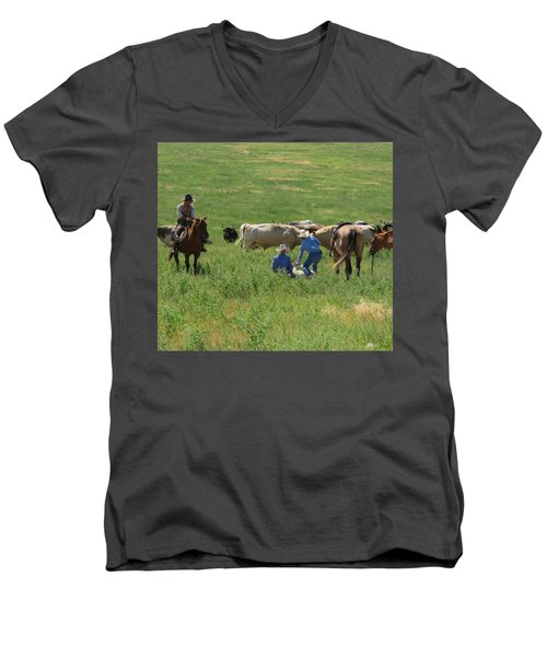 Calf Roping Men's V-Neck T-Shirt