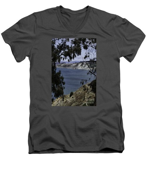 Men's V-Neck T-Shirt featuring the photograph Cali Shore by Judy Wolinsky