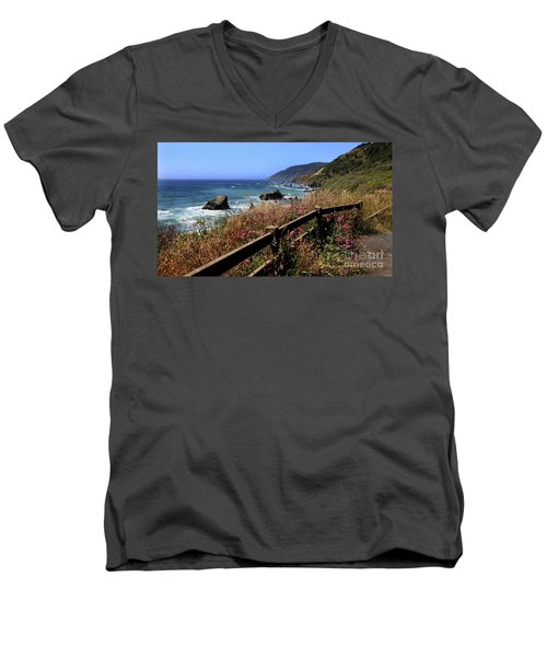 California Coast Men's V-Neck T-Shirt by Joseph G Holland