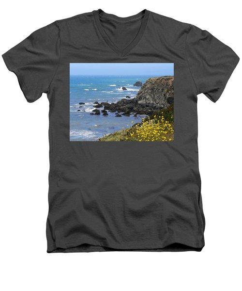 California Coast Men's V-Neck T-Shirt by Laurel Powell