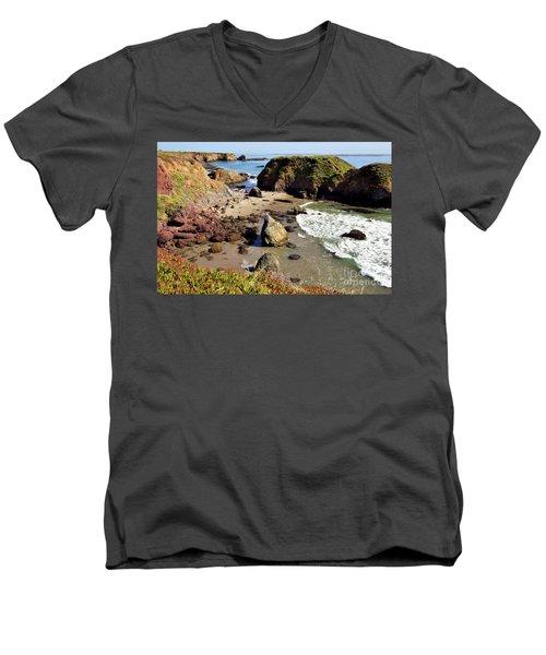 California Coast Rocks Cliffs Iceplant Men's V-Neck T-Shirt by Dan Carmichael