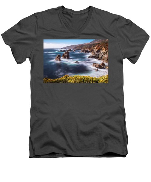 Men's V-Neck T-Shirt featuring the photograph California Coastline  by Vincent Bonafede