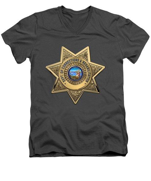 Men's V-Neck T-Shirt featuring the digital art California Department Of Corrections And Rehabilitation - C D C R  Officer Badge Over Blue Velvet by Serge Averbukh