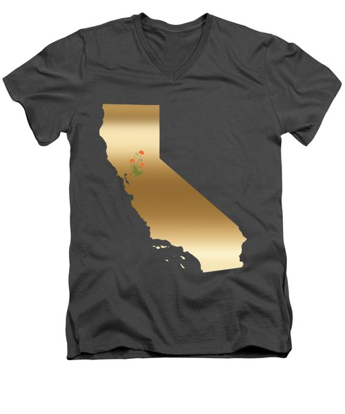 California Gold With State Flower Men's V-Neck T-Shirt
