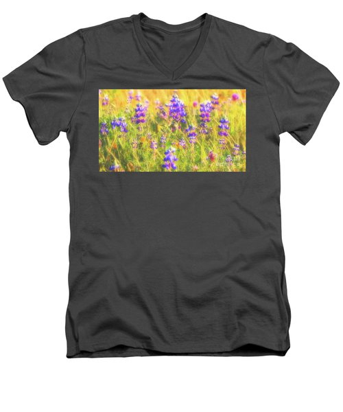California Lupines Redux Men's V-Neck T-Shirt