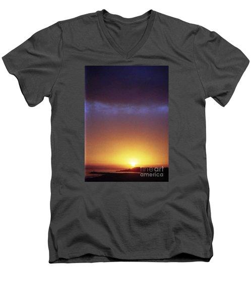 California Ocean Sunset Men's V-Neck T-Shirt by Ted Pollard