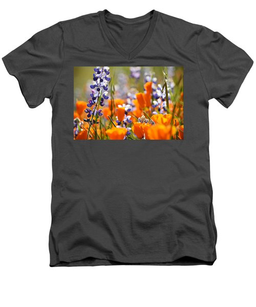 California Poppies And Lupine Men's V-Neck T-Shirt by Kyle Hanson