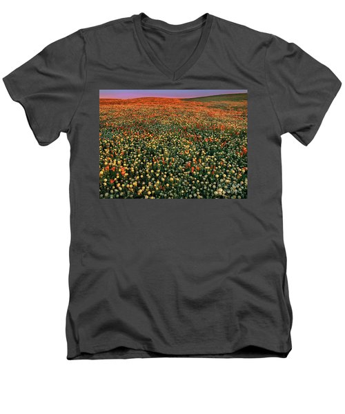 Men's V-Neck T-Shirt featuring the photograph California Poppies At Dawn Lancaster California by Dave Welling