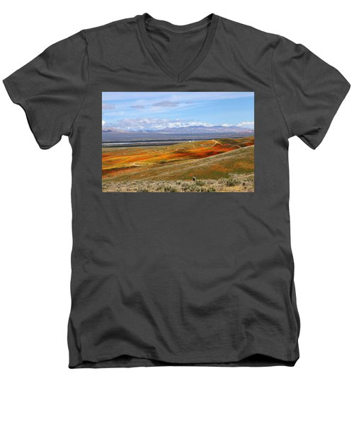 Men's V-Neck T-Shirt featuring the photograph California Poppy Reserve by Viktor Savchenko