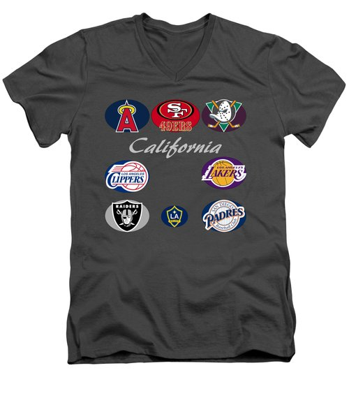 California Professional Sport Teams Collage  Men's V-Neck T-Shirt by Movie Poster Prints