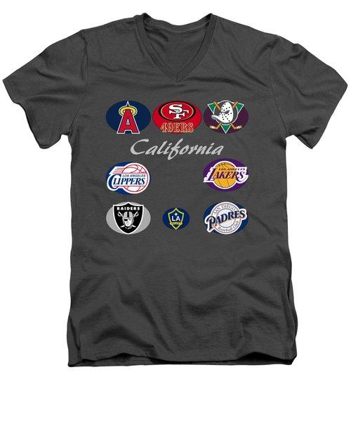 California Professional Sport Teams Collage  Men's V-Neck T-Shirt