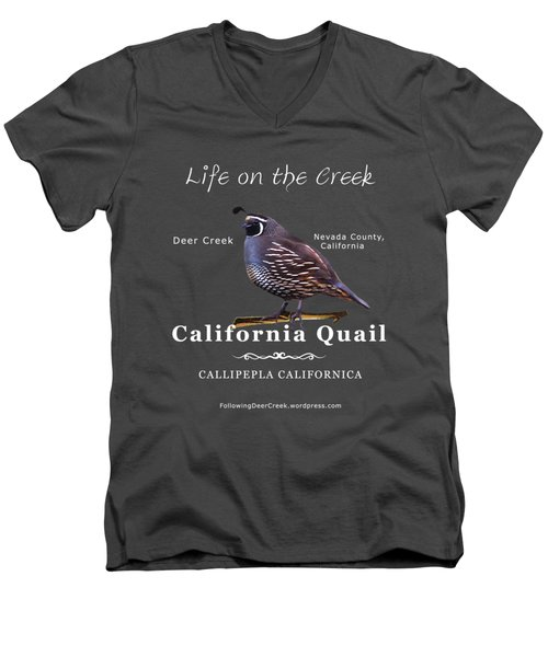 California Quail - Color Bird - White Text Men's V-Neck T-Shirt