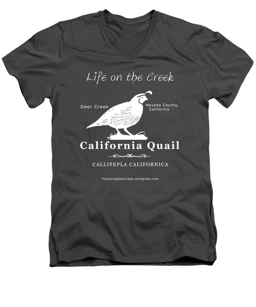 California Quail - White Graphics Men's V-Neck T-Shirt