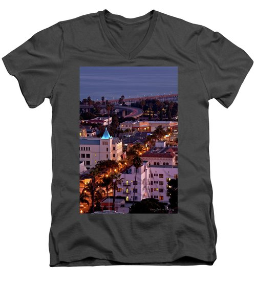 Men's V-Neck T-Shirt featuring the photograph California Street At Ventura California by John A Rodriguez