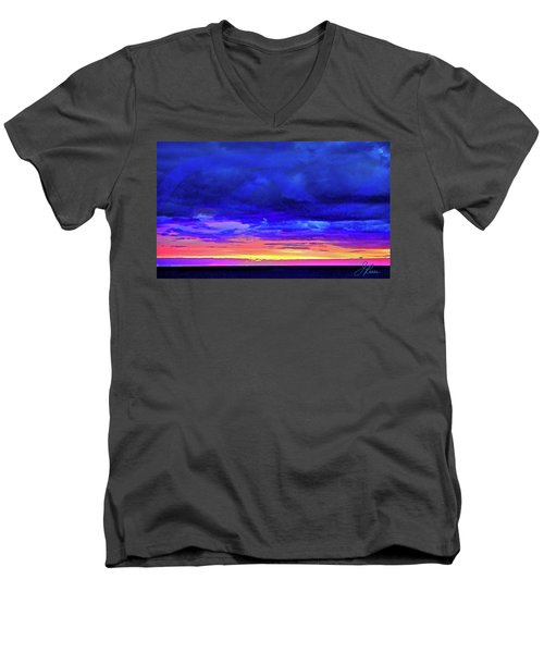 Men's V-Neck T-Shirt featuring the painting California Sunrise by Joan Reese