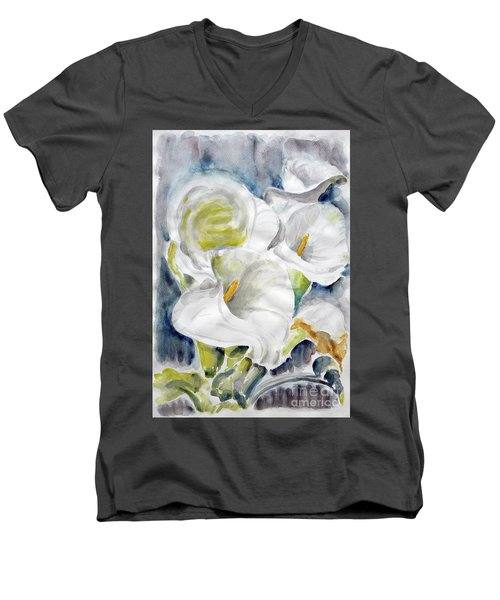 Men's V-Neck T-Shirt featuring the painting Calla by Jasna Dragun