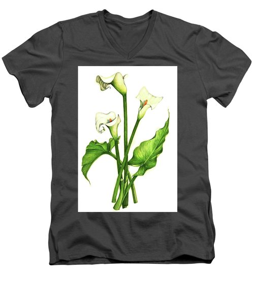 Men's V-Neck T-Shirt featuring the painting Calla Lilly by Heidi Kriel