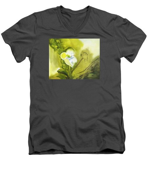 Calla Lily In Acrylic Men's V-Neck T-Shirt by Frank Bright