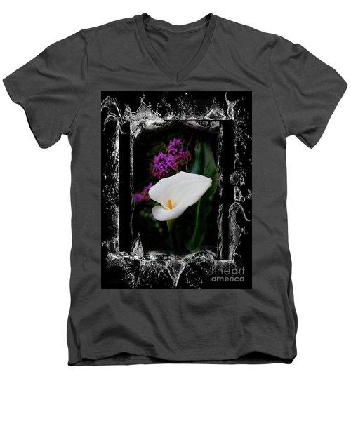 Men's V-Neck T-Shirt featuring the photograph Calla Lily Splash by Al Bourassa