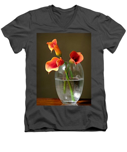 Calla Lily Stems Men's V-Neck T-Shirt by Diana Angstadt
