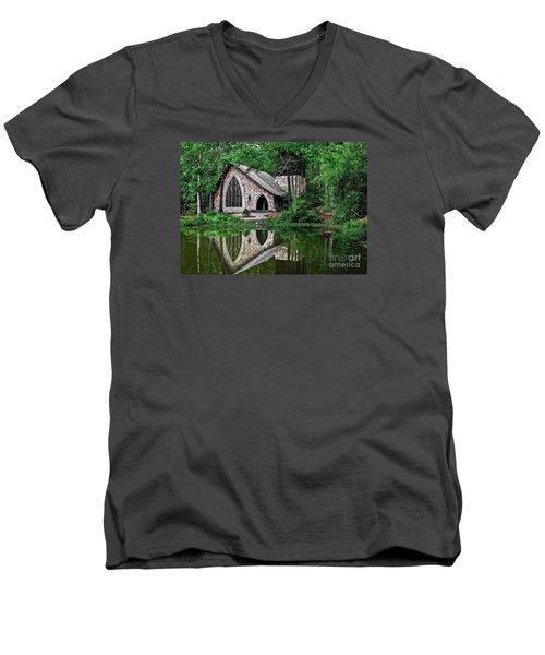 Callaway Gardens Ida Cason Chapel Men's V-Neck T-Shirt by John Roberts