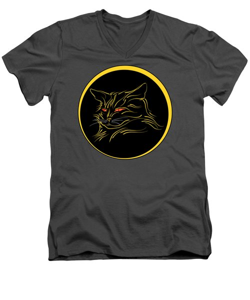 Calligraphic Black Cat And Moon Men's V-Neck T-Shirt