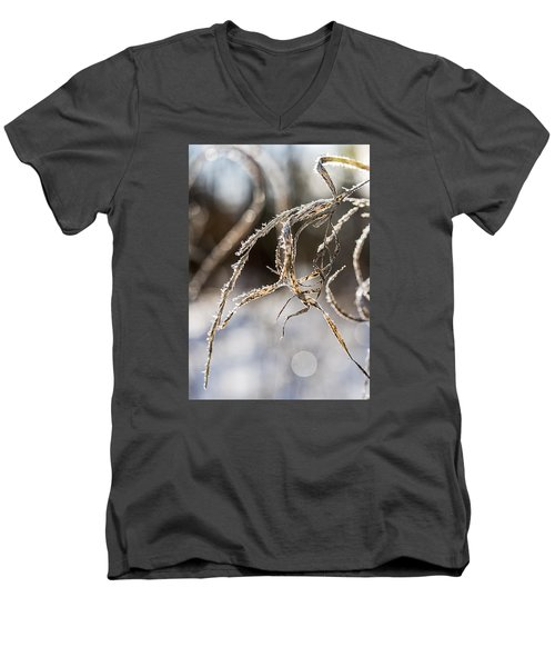 Men's V-Neck T-Shirt featuring the photograph Calligraphy In The Grass by Annette Berglund