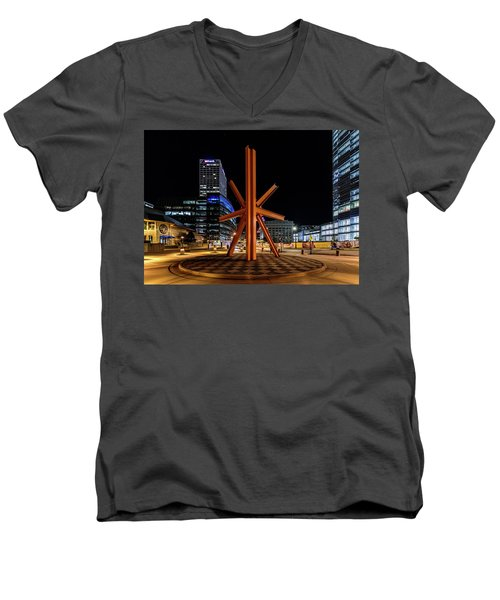 Men's V-Neck T-Shirt featuring the photograph Calling After Sundown by Randy Scherkenbach