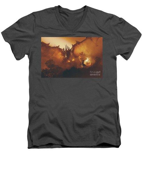 Calling Of The Dragon Men's V-Neck T-Shirt