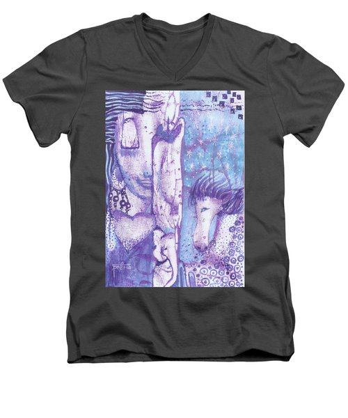 Men's V-Neck T-Shirt featuring the mixed media Calling Upon The Spirit Animals by Prerna Poojara