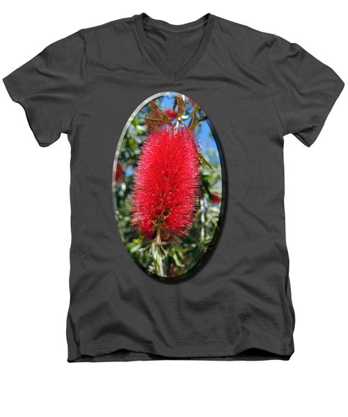Callistemon - Bottle Brush T-shirt 2 Men's V-Neck T-Shirt by Isam Awad