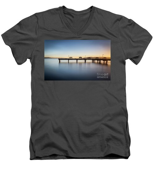 Calm Morning At The Pier Men's V-Neck T-Shirt