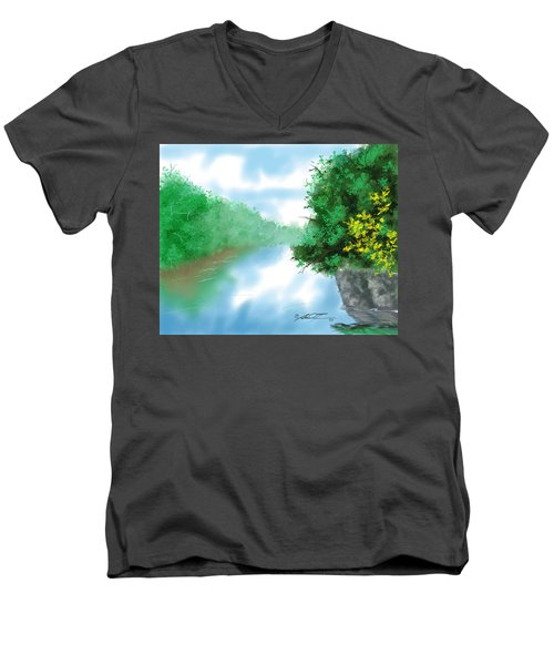 Calm River Men's V-Neck T-Shirt