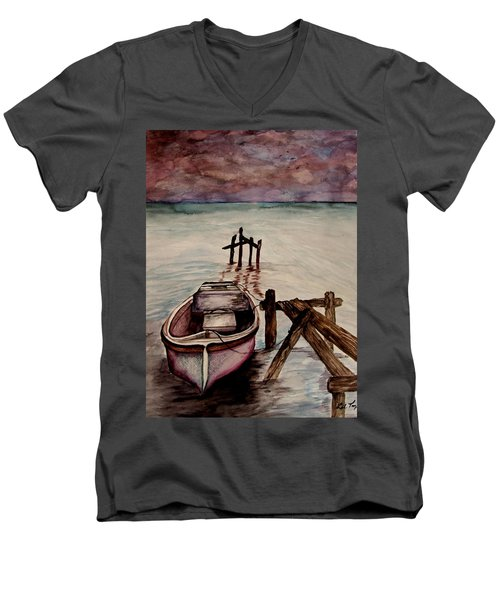 Calm Waters Men's V-Neck T-Shirt by Lil Taylor