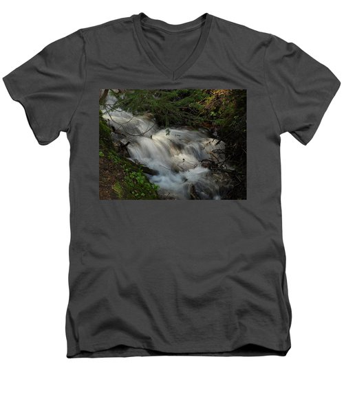 Calming Stream Men's V-Neck T-Shirt by DeeLon Merritt