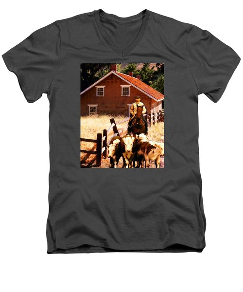 Men's V-Neck T-Shirt featuring the photograph Calves by Timothy Bulone