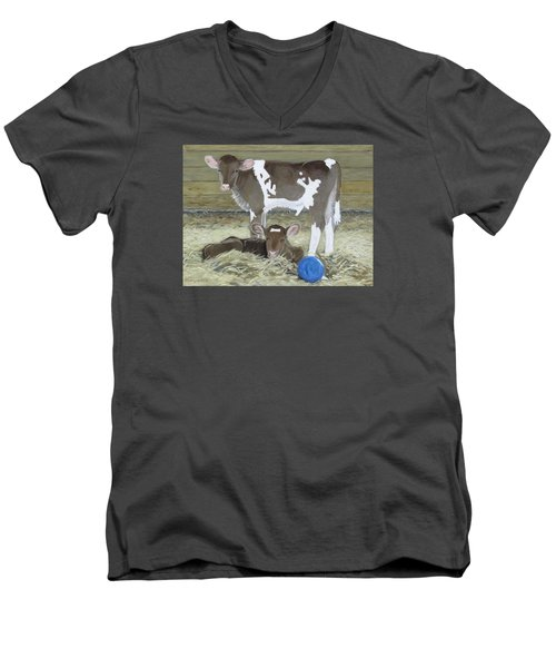 Calves Playing With A Blue Ball Men's V-Neck T-Shirt