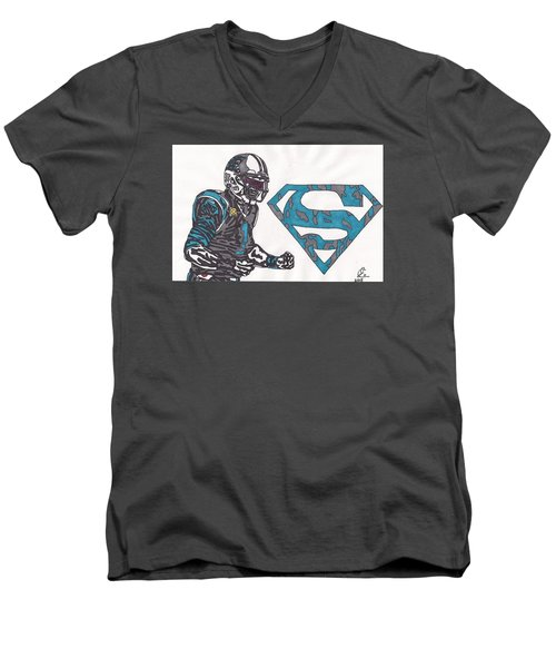 Cam Newton Superman Edition Men's V-Neck T-Shirt by Jeremiah Colley