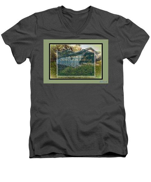 Men's V-Neck T-Shirt featuring the digital art Cambridge Jct. Bridge History by John Selmer Sr