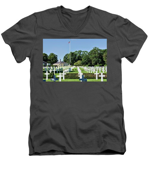 Men's V-Neck T-Shirt featuring the photograph Cambridge England American Cemetery by Alan Toepfer